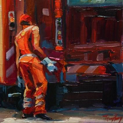 """man in the orange"" original fine art by Jurij Frey"