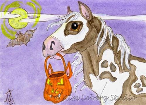 """Specter Paint Horse Trick or Treating"" original fine art by Kim Loberg"