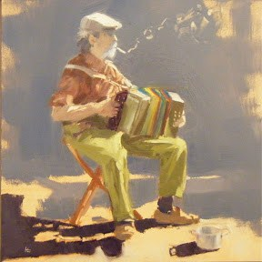"""ACCORDION PLAYER - LODEVE FRANCE"" original fine art by Helen Cooper"