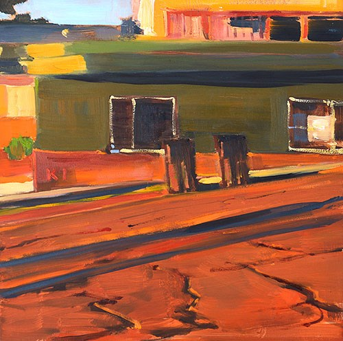 """""""Trash Cans, Sherman Heights"""" original fine art by Kevin Inman"""
