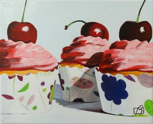 """Vanilla & Cherry Cupcakes"" original fine art by Andre Beaulieu"