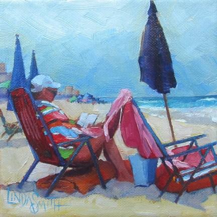 """Beach Cool & Overcast"" original fine art by Linda K Smith"
