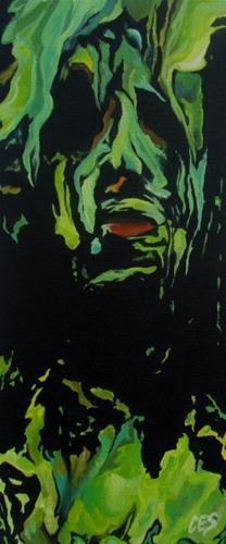 """Self-Portrait Drowning in Paint"" original fine art by ~ces~ Christine E. S. Code"