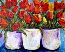 """""""Farmers market Tulips"""" original fine art by Maggie Flatley"""