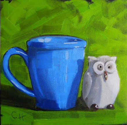 """""""Whoo Likes Coffee"""" original fine art by Claire Henning"""