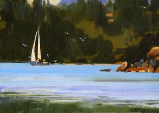"""Starboard Tack  oil marinescape painting"" original fine art by Robin Weiss"