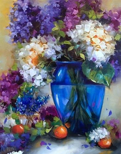 """Hill Country Hydrangeas and Meeting a Rare Blue Cow - A Texas Flower Painting Workshop by Nancy Medi"" original fine art by Nancy Medina"