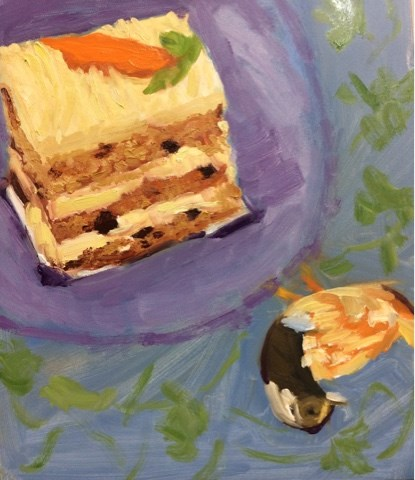 """Pastry Challenge 8x10 gesso board oil"" original fine art by Peggy Schumm"
