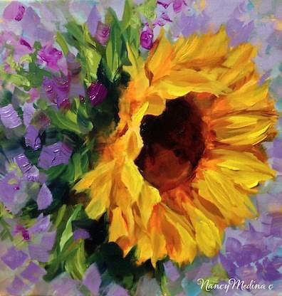 """Violets and Sunflowers and a Sleepy Pug Video by Texas Artist Nancy Medina"" original fine art by Nancy Medina"