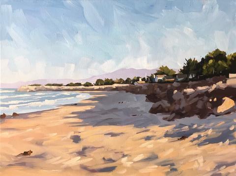 """Carpinteria Beach, Sunrise"" original fine art by Sharon Schock"