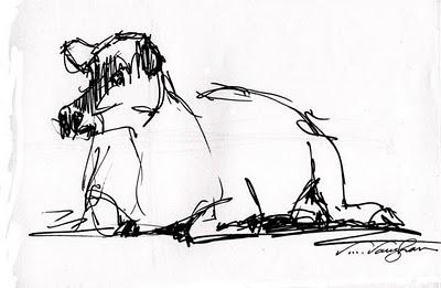"""""""Live Quickie_Cow Sketch"""" original fine art by V.... Vaughan"""
