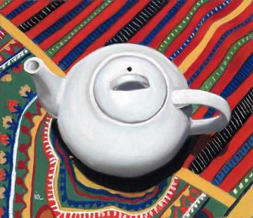 """White Teapot"" original fine art by Ria Hills"