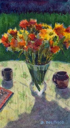 """Watercolor: Patio Bouquet #miniatureart #paintings"" original fine art by Belinda Del Pesco"