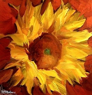 """""""Bring on the Heat Sunflower and a Florida Workshop ~ Floral Paintings by Nancy Medina"""" original fine art by Nancy Medina"""