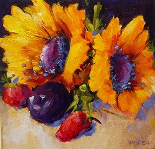 """Sunflowers and Friends"" original fine art by Alice Harpel"