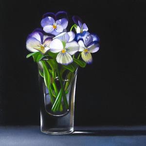 """""""Violets 4x4"""" original fine art by M Collier"""