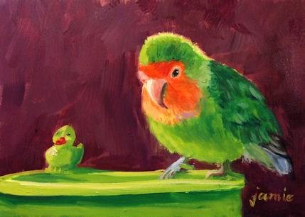 """Bathtime for Mango"" original fine art by Jamie Williams Grossman"