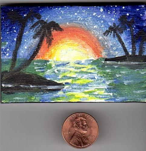 """""""Tropical Sunset Miniature with Easel"""" original fine art by Patricia Ann Rizzo"""