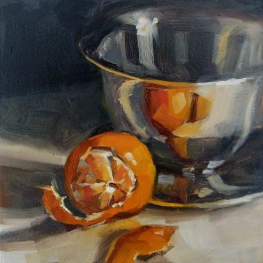 """Oil painting: Orange with Steel Bowl"" original fine art by Deb Anderson"