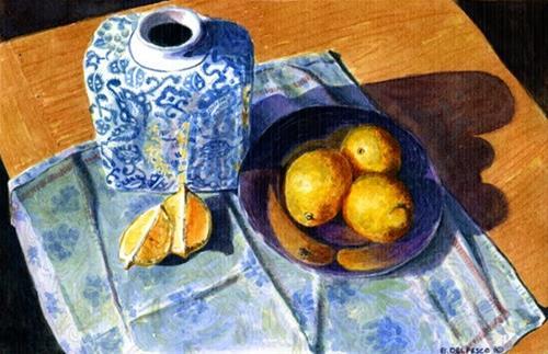 """Watercolor: Three Lemons on Blue (& Haters leaving Comments)"" original fine art by Belinda Del Pesco"