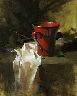 """A Red Cup --- Sold"" original fine art by Qiang Huang"