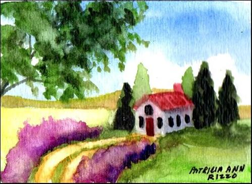 """""""House in the Country"""" original fine art by Patricia Ann Rizzo"""