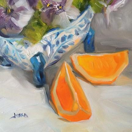 """Pansies and Orange Slices"" original fine art by Elaine Juska Joseph"