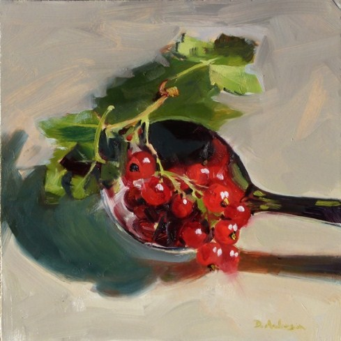 """""""Oil Painting of Red Currants"""" original fine art by Deb Anderson"""