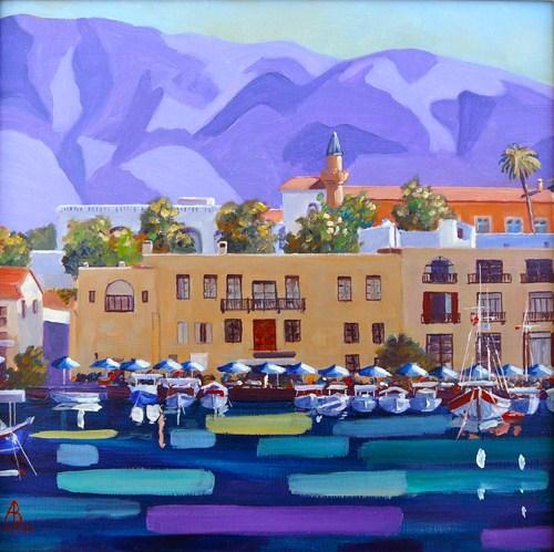 """Kyrenia Harbour, N Cyprus"" original fine art by Alix Baker PCAFAS AUA"