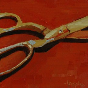 """SCISSORS"" original fine art by Linda Popple"