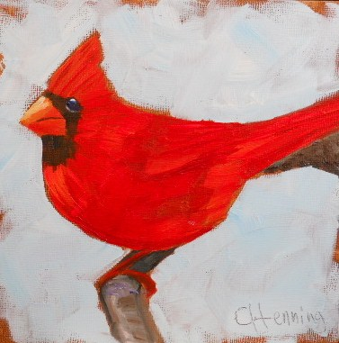 """""""Red Cardinal"""" original fine art by Claire Henning"""