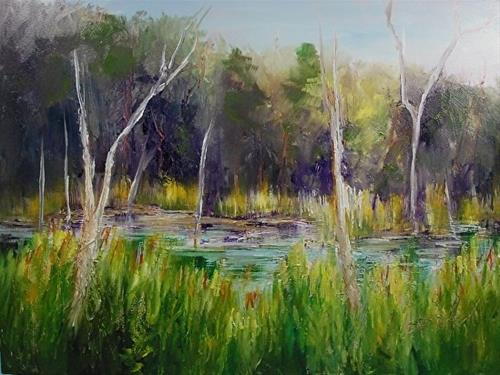 """Cuyahoga Marsh, 9 x 12 Oil, Landscape"" original fine art by Donna Pierce-Clark"