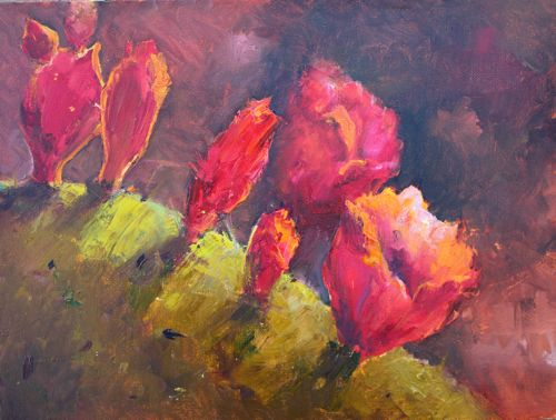 """""""Blooms on Cactus, Oil painting of Southwest Cactus"""" original fine art by Amy Whitehouse"""