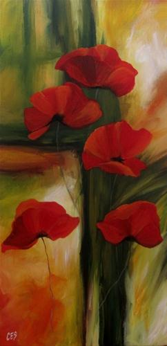 """""""Abstract Poppies"""" original fine art by ~ces~ Christine E. S. Code"""