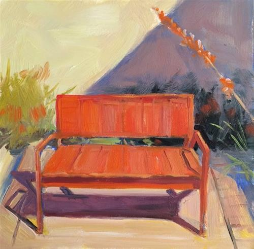 """Red Bench"" original fine art by Deborah Newman"