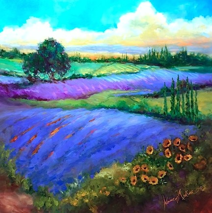 """Big Color, Big Dreams - French Dreams Lavender Fields ~ Paintings by Nancy Medina"" original fine art by Nancy Medina"
