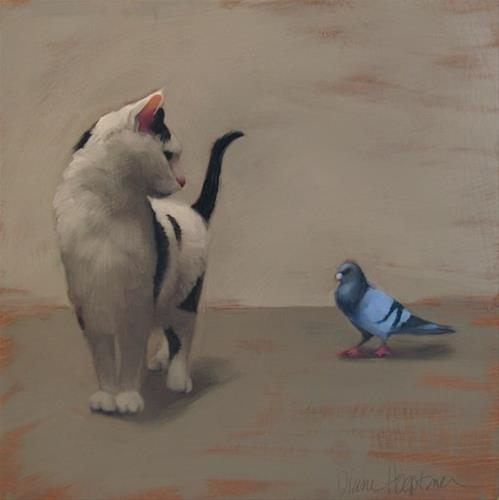 """""""Cat and Pigeon and news about an upcoming show in Cleveland"""" original fine art by Diane Hoeptner"""
