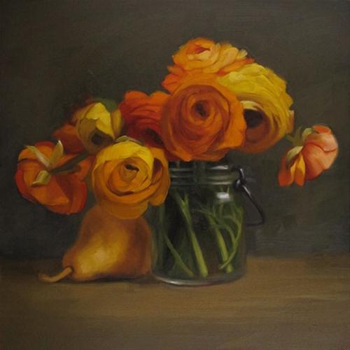 """Bouquet with Pear II zinc white is da bomb"" original fine art by Diane Hoeptner"