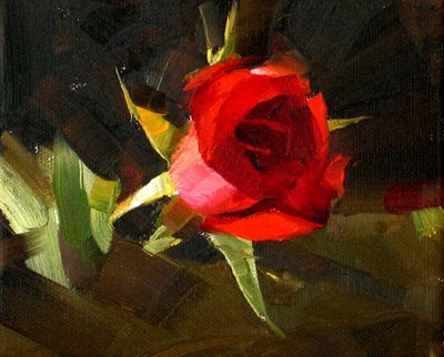 """""""Red Rose 4 --- Sold"""" original fine art by Qiang Huang"""