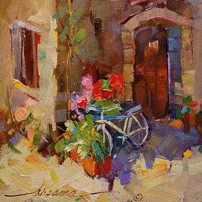 """Free Wheelin' in Italy"" original fine art by Dreama Tolle Perry"