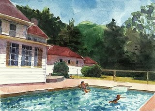 """Watercolor: Last Swim of the Summer"" original fine art by Belinda Del Pesco"