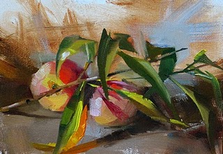 """Peaches, Leaves --- Sold"" original fine art by Qiang Huang"