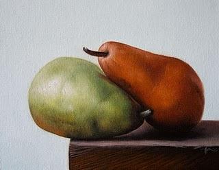 """Pears Hugging"" original fine art by Jonathan Aller"