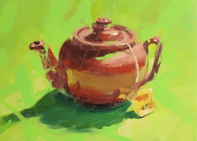 """GREEN TEA"" original fine art by Helen Cooper"
