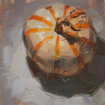 """Striped Pumpkin w/ Curlies"" original fine art by Carol Marine"