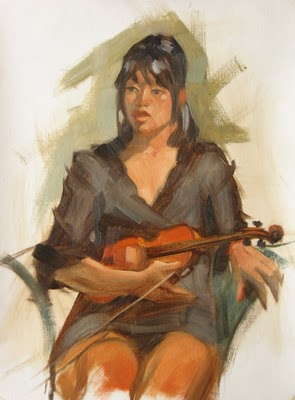 """Violin player 12x16 oil on canvas"" original fine art by Claudia Hammer"
