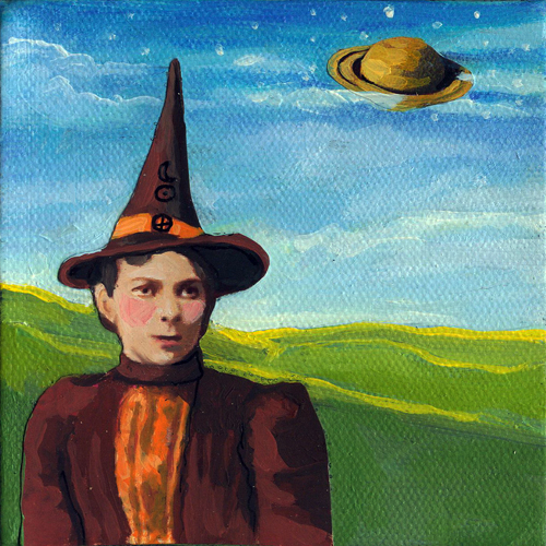 """The Astrologer - woman fantasy mixed media"" original fine art by Linda Apple"