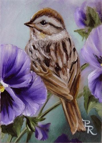 """""""A Perch in the Pansies"""" original fine art by Paulie Rollins"""