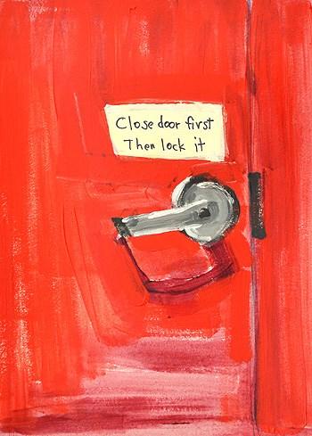"""Red Door, Helpful Sign"" original fine art by Kevin Inman"