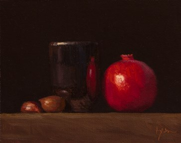 """Still Life with Chestnuts, Handmade Cup, & Pomegranate  (+a concert)"" original fine art by Abbey Ryan"
